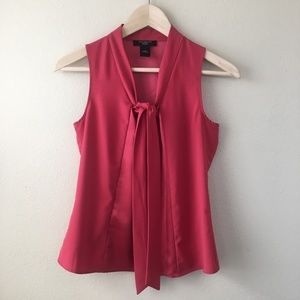 Ann Taylor Neck Tie Sleeveless Blouse